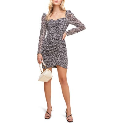 Astr The Label Floral Ruched Long Sleeve Minidress, Black