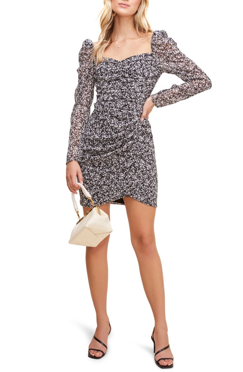 ASTR THE LABEL Floral Ruched Long Sleeve Minidress, Main, color, BLACK/ WHITE MULTI