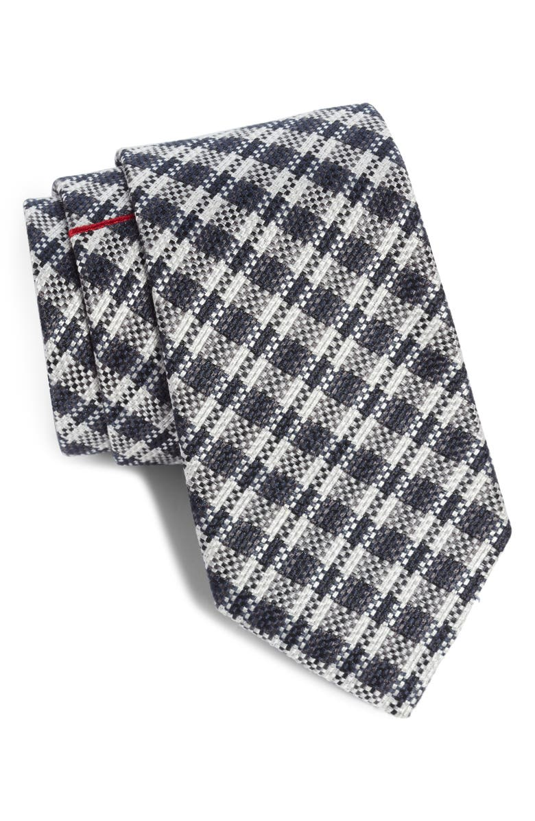 TITLE OF WORK Pixelated Plaid Silk Tie, Main, color, BLACK/ RED
