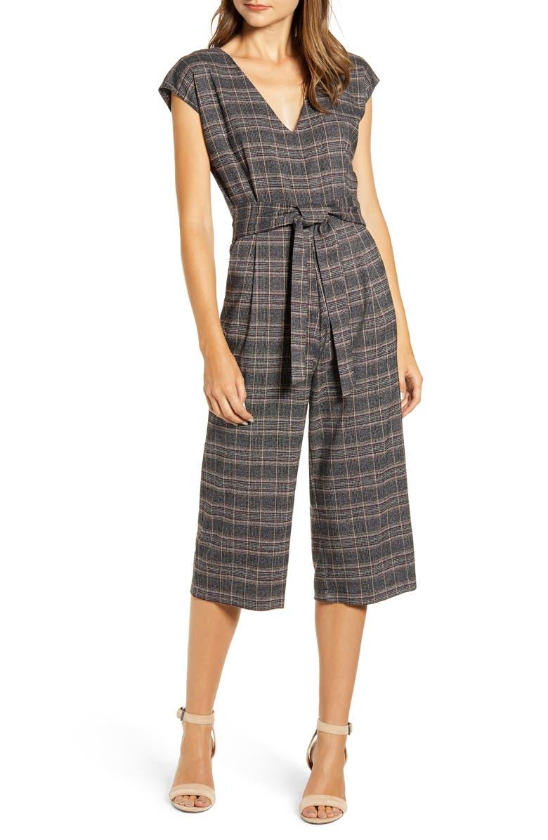 BISHOP + YOUNG Front Tie Plaid Jumpsuit, Main, color, PLAID