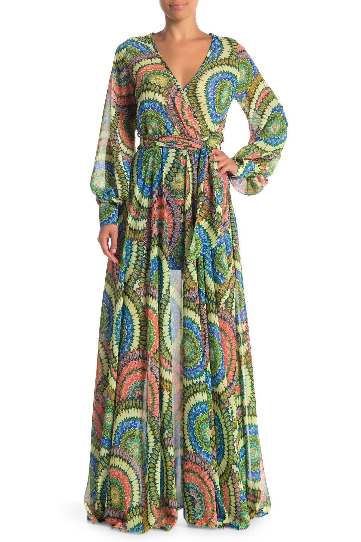 Image of Meghan LA Long Sleeve Maxi Wrap Dress