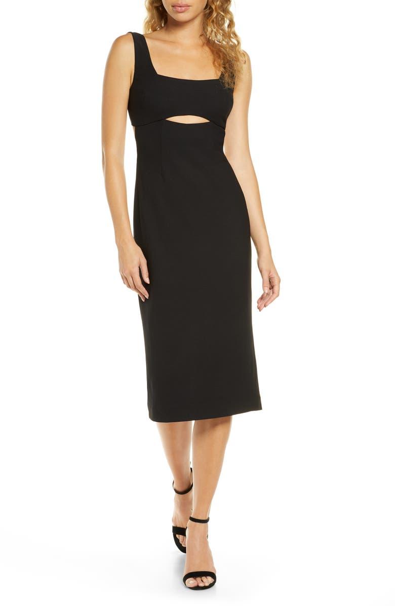FINDERS KEEPERS Nadia Cutout Midi Dress, Main, color, BLACK