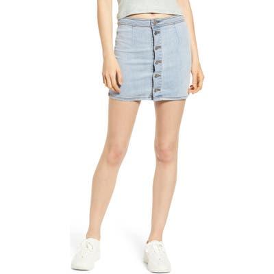 Tinsel Button Front Denim Miniskirt, Blue