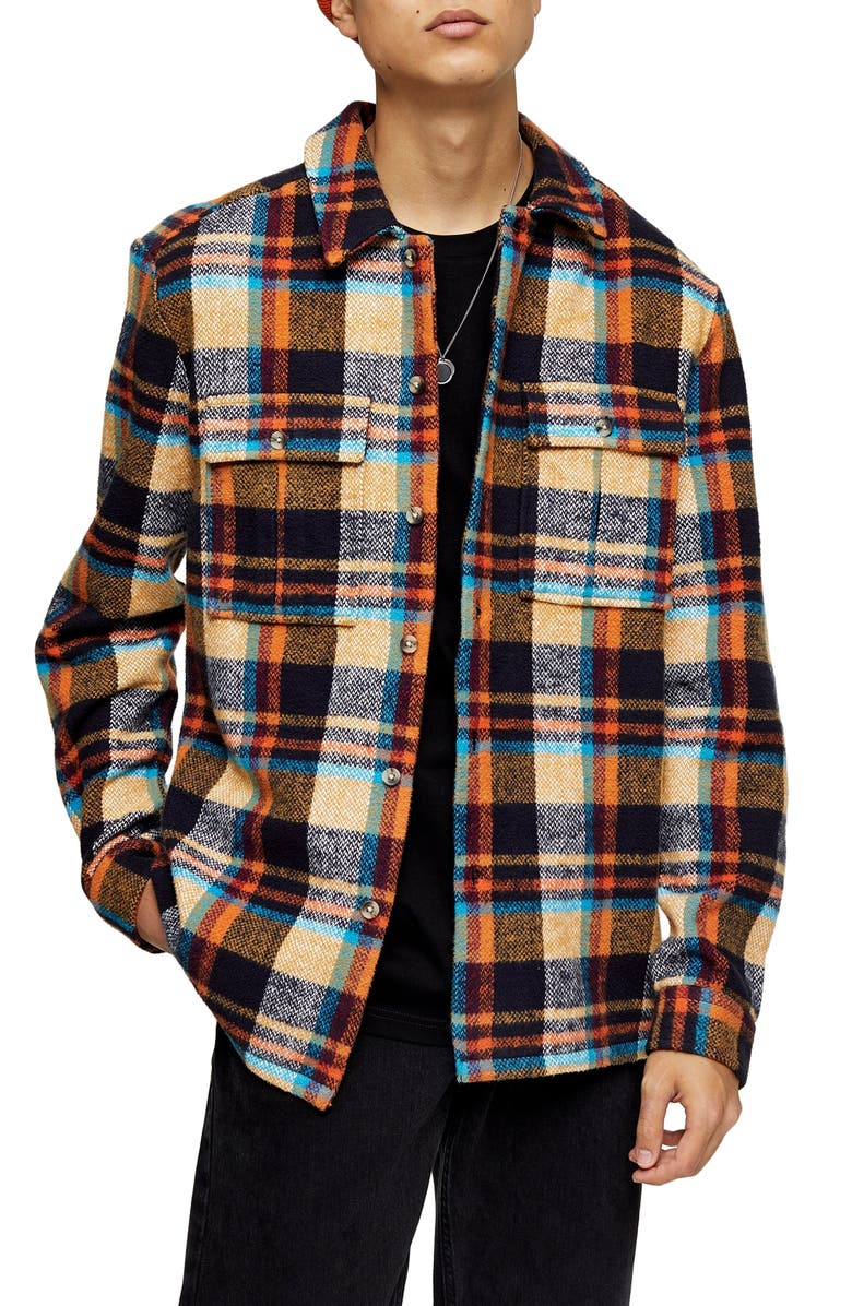 TOPMAN Plaid Button-Up Flannel Shirt Jacket, Main, color, 250