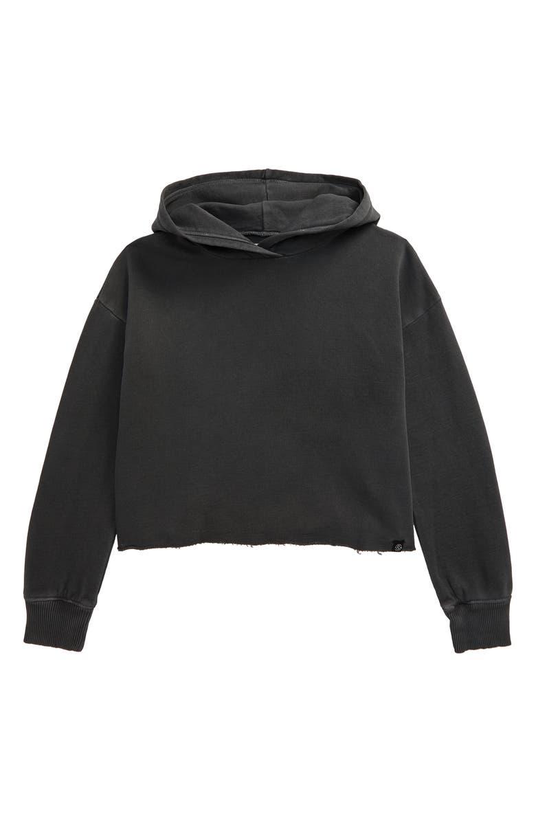 TREASURE & BOND Crop Hoodie, Main, color, BLACK RAVEN