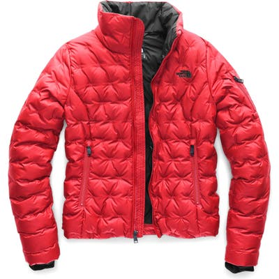 The North Face Holladown Water Repellent 550-Fill Power Down Crop Jacket, Red