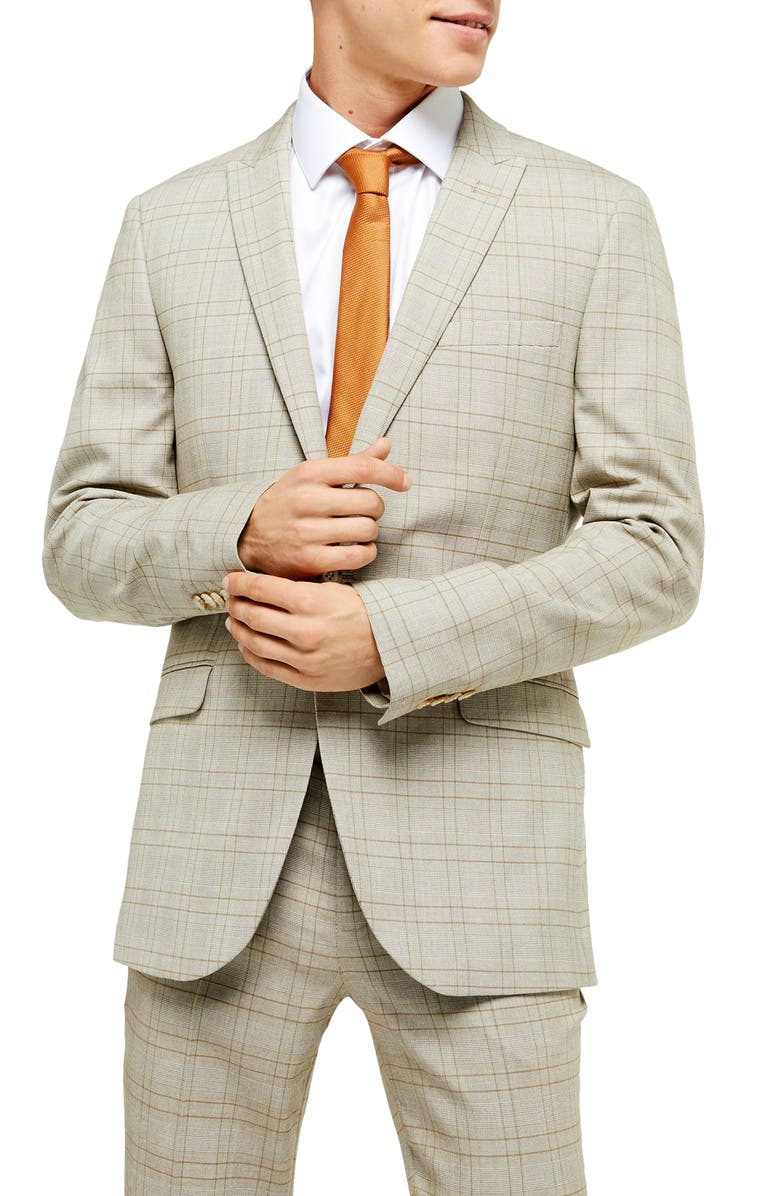 TOPMAN Jake Check Skinny Fit Suit Jacket, Main, color, STONE