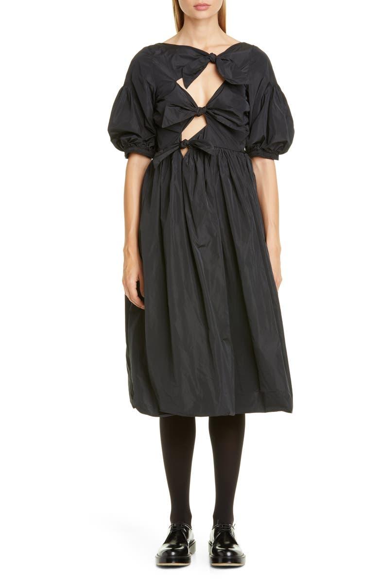 MOLLY GODDARD Sandra Tied Taffeta Midi Dress, Main, color, BLACK