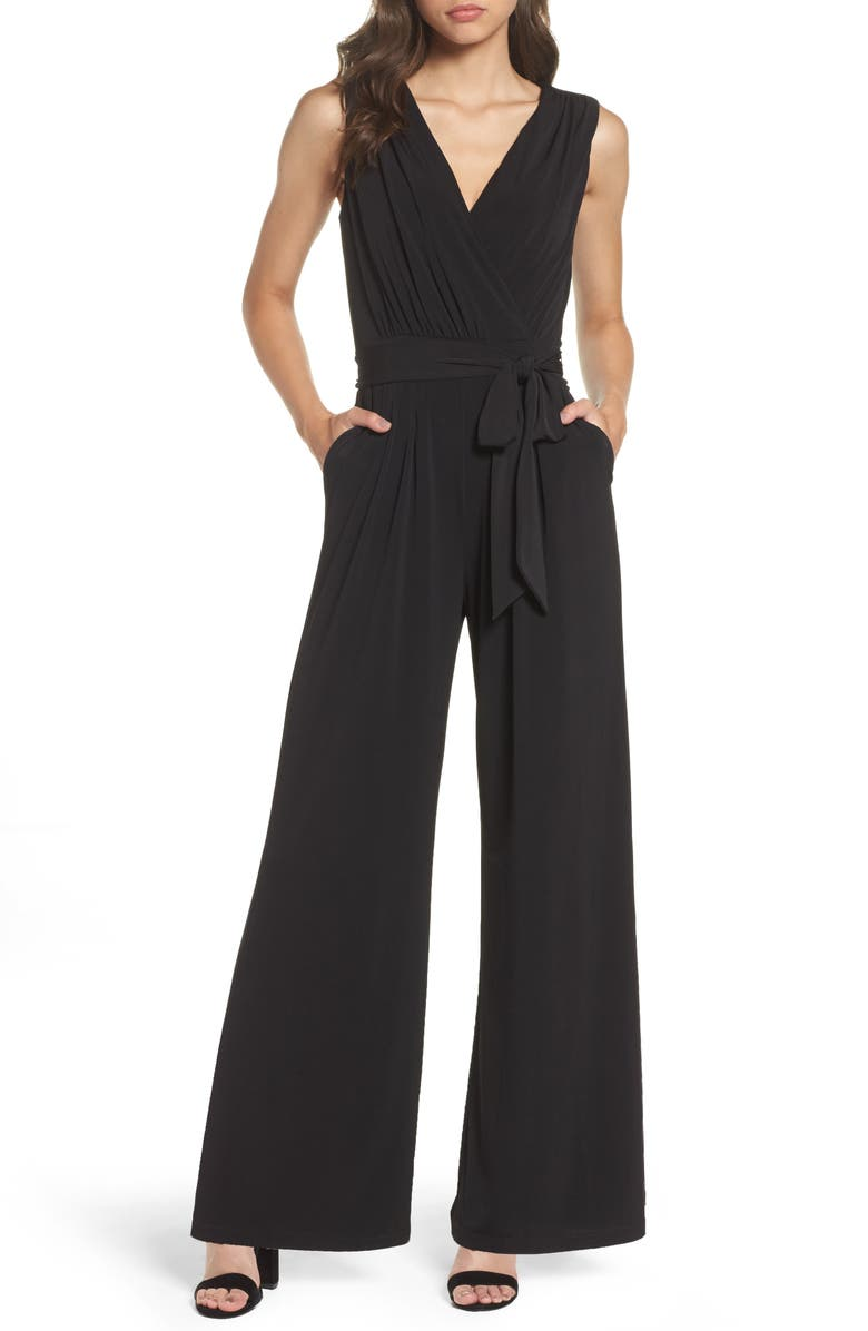 VINCE CAMUTO Faux Wrap Jersey Jumpsuit, Main, color, BLACK