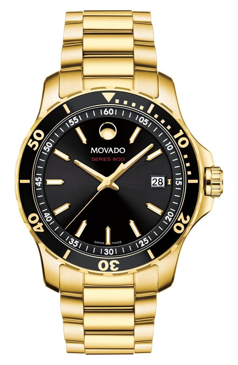 MOVADO Series 800 Bracelet Watch, 40mm, Main, color, GOLD/ BLACK/ GOLD