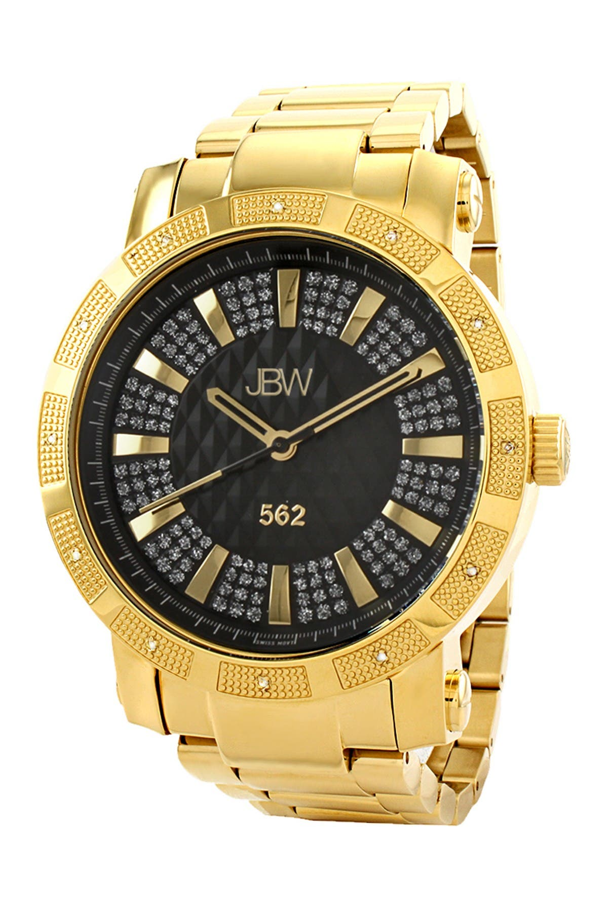 "Image of JBW Men's ""562"" Diamond Watch, 50mm - 0.12 ctw"