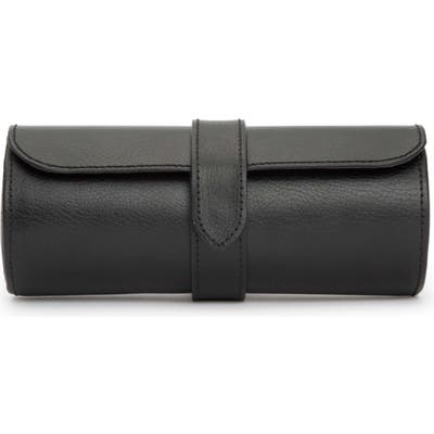 Wolf Black Leather Watch Roll - Black