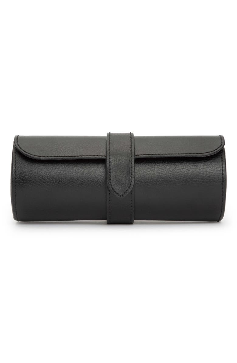 WOLF Black Leather Watch Roll, Main, color, BLACK