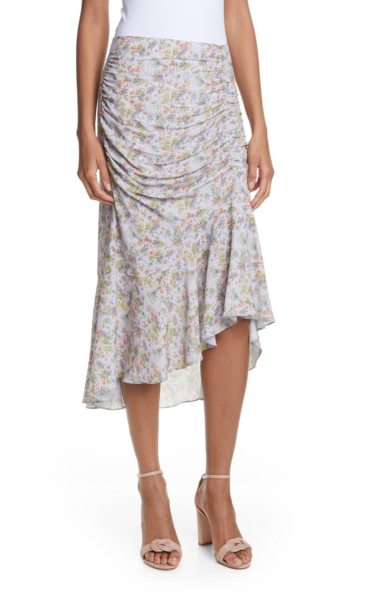 ALICE + OLIVIA Freuda Ruched Floral Asymmetrical Skirt, Main, color, 500