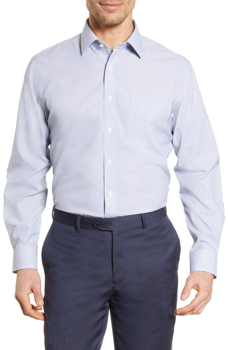NORDSTROM MEN'S SHOP Smartcare<sup>™</sup> Traditional Fit Stripe Dress Shirt, Main, color, BLUE DEPTHS
