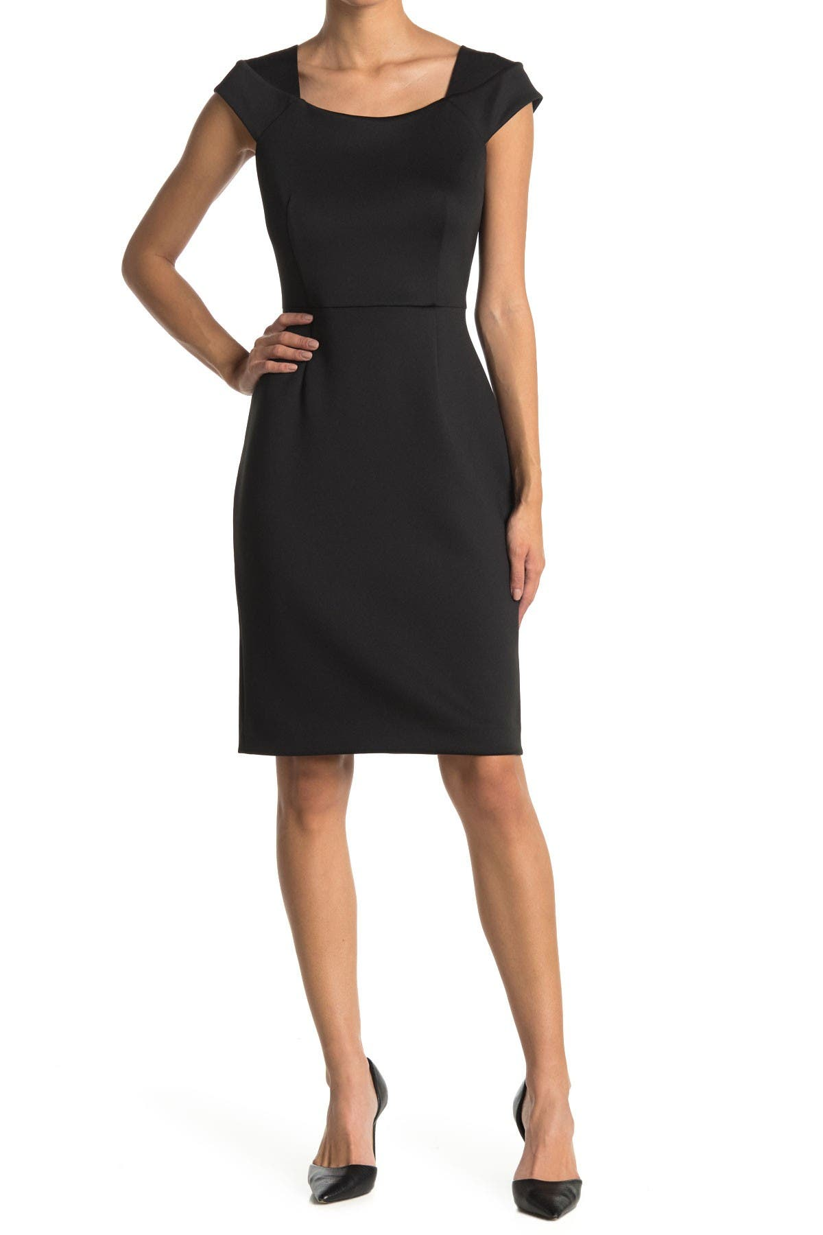 Image of Calvin Klein Cap Sleeve Sheath Dress