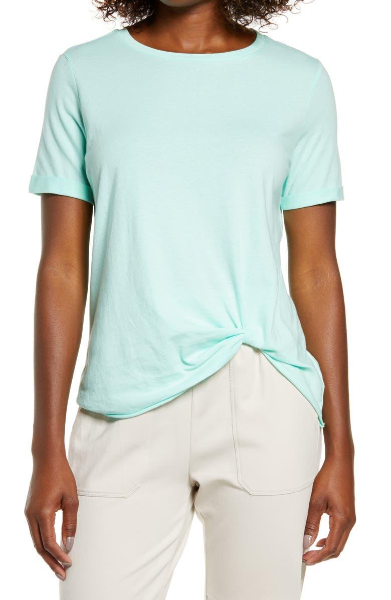 ZELLA Tuck Front T-Shirt, Main, color, GREEN STATUE