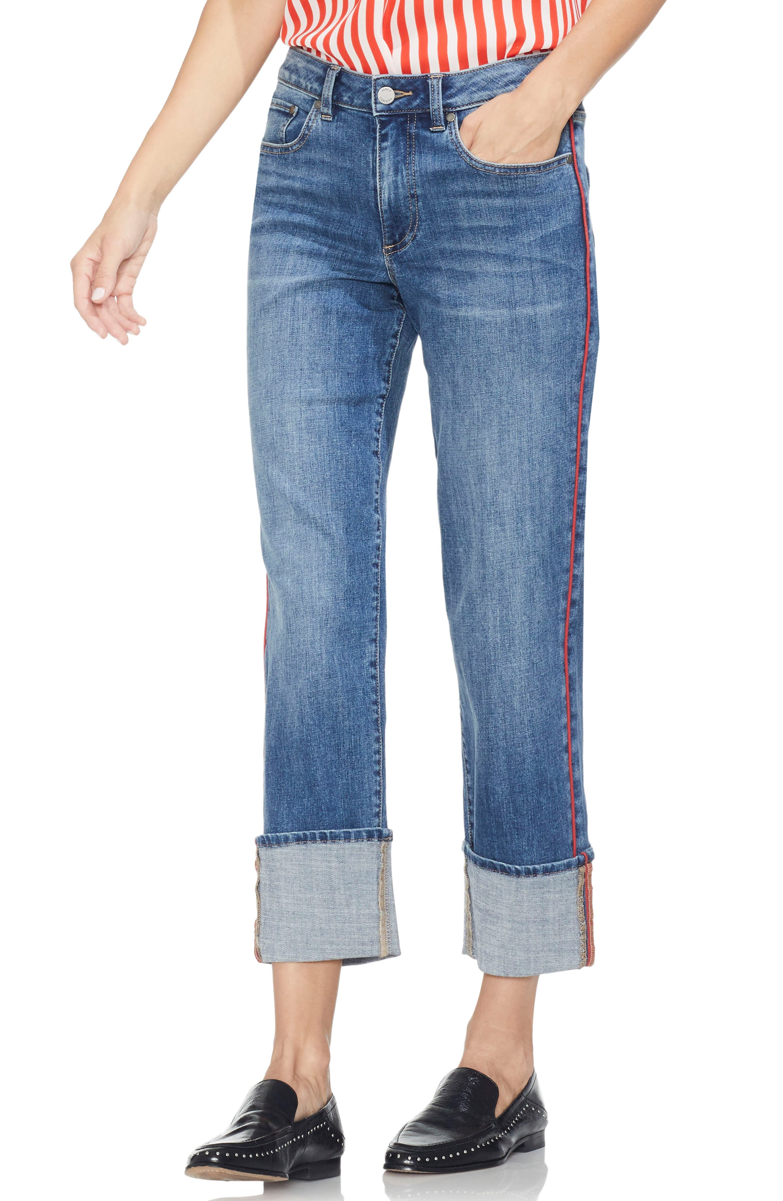 Image of Vince Camuto Cuffed Straight Leg Jeans