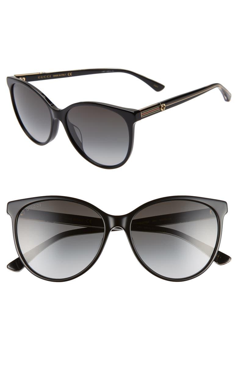 GUCCI 57mm Cat Eye Sunglasses, Main, color, BLACK/ CRYSTAL/ GREY GRADIENT