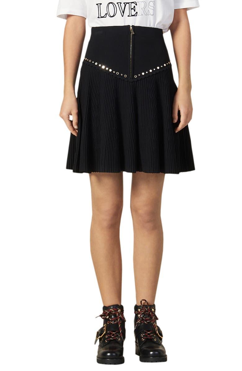 SANDRO Oria Stud Detail Knit Miniskirt, Main, color, BLACK