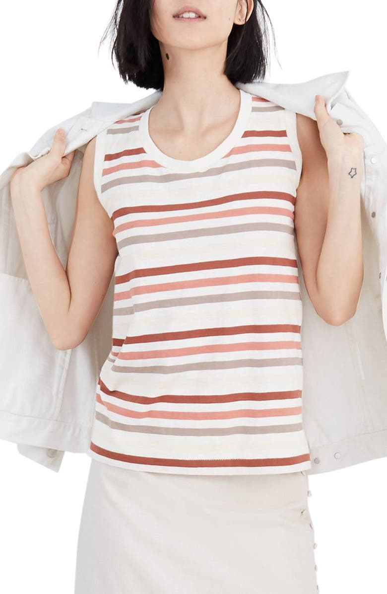 Whisper Cotton Stripe Muscle Tank by Madewell