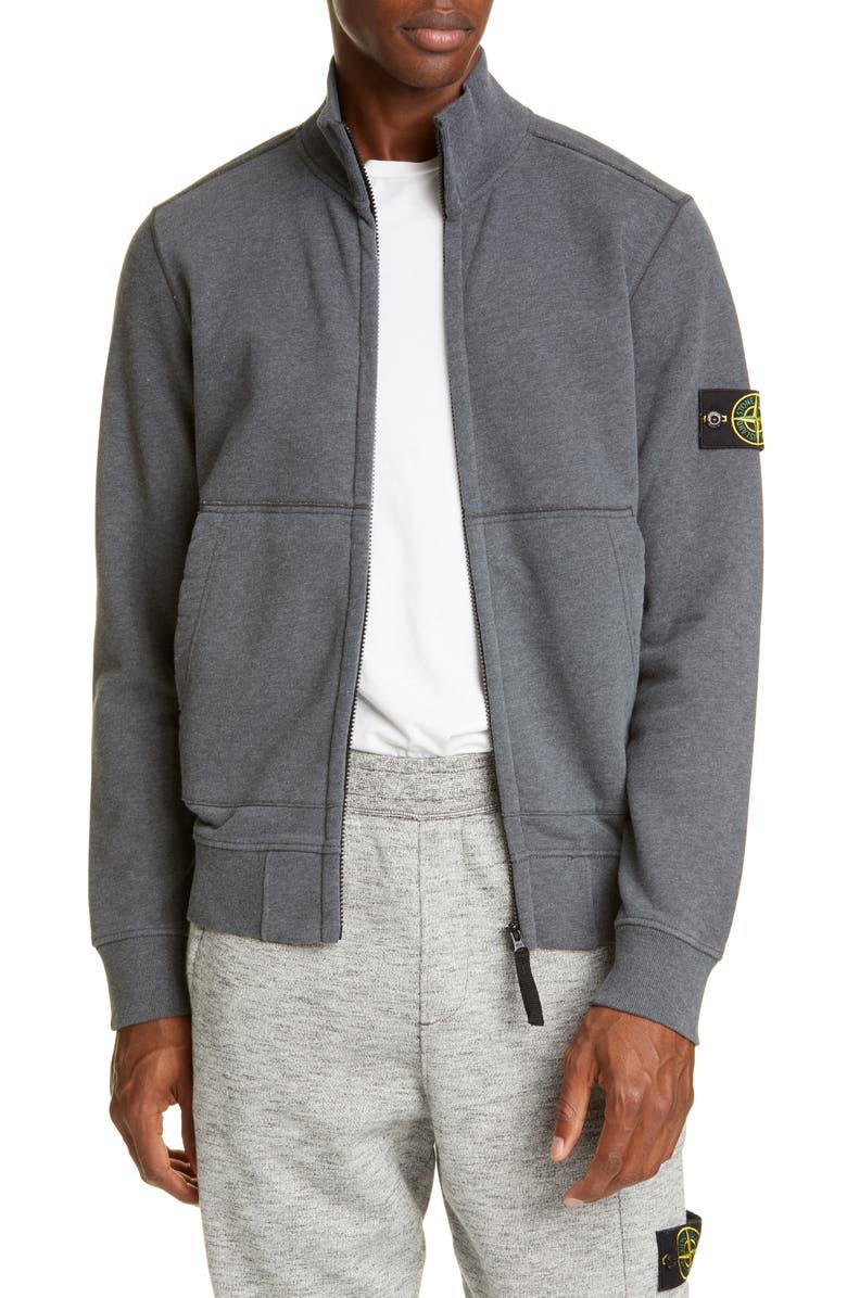 STONE ISLAND Fleece Zip Jacket, Main, color, GREY