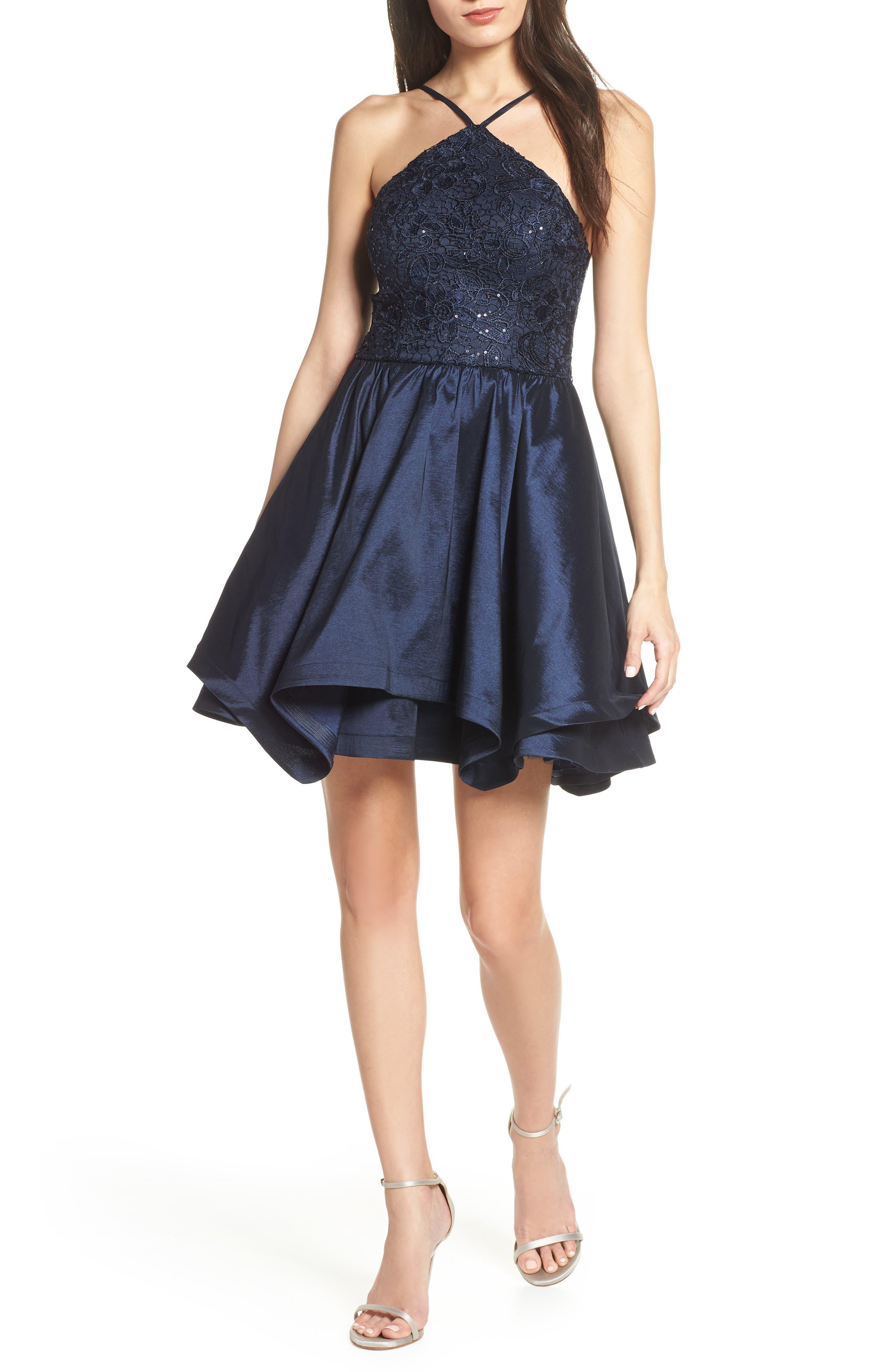 Sequin Hearts Stretch Taffeta & Lace Halter Neck Party Dress, Blue
