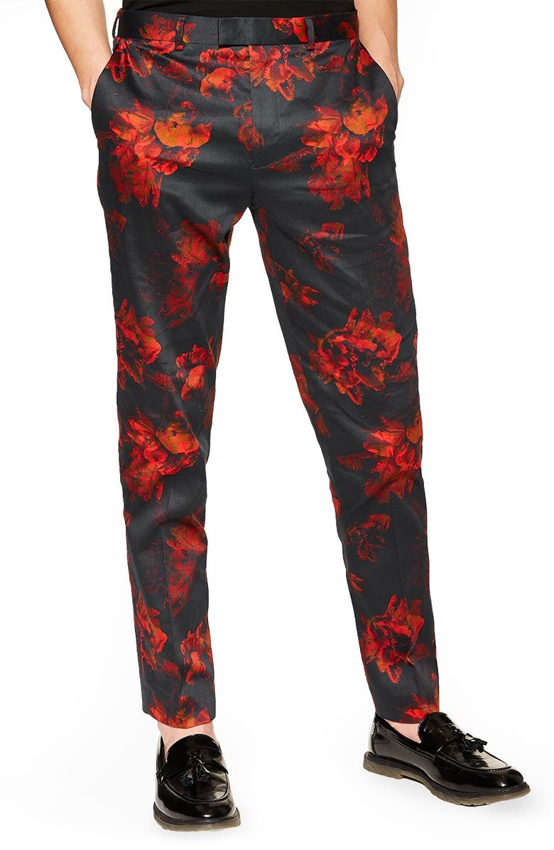 TOPMAN Slim Fit Floral Suit Pants, Main, color, BLACK MULTI