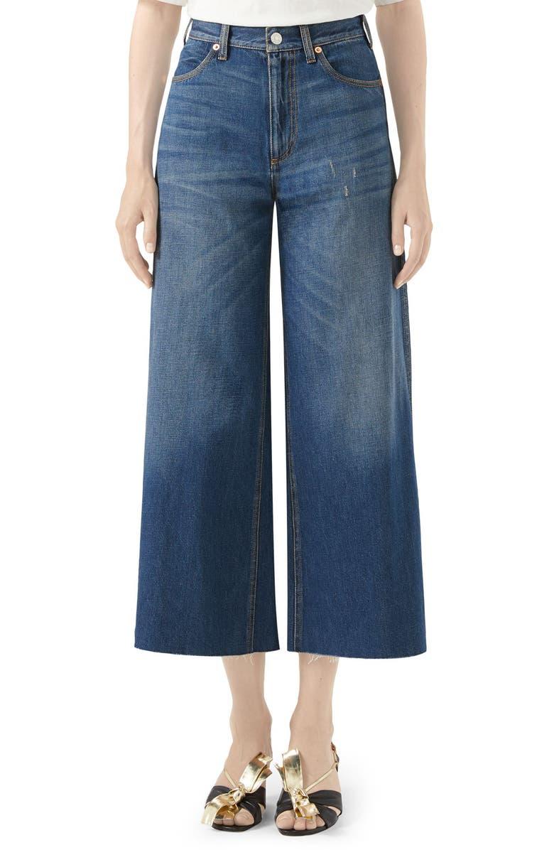 GUCCI Patch Embellished Crop Wide Leg Jeans, Main, color, BLUE/ MULTICOLOR
