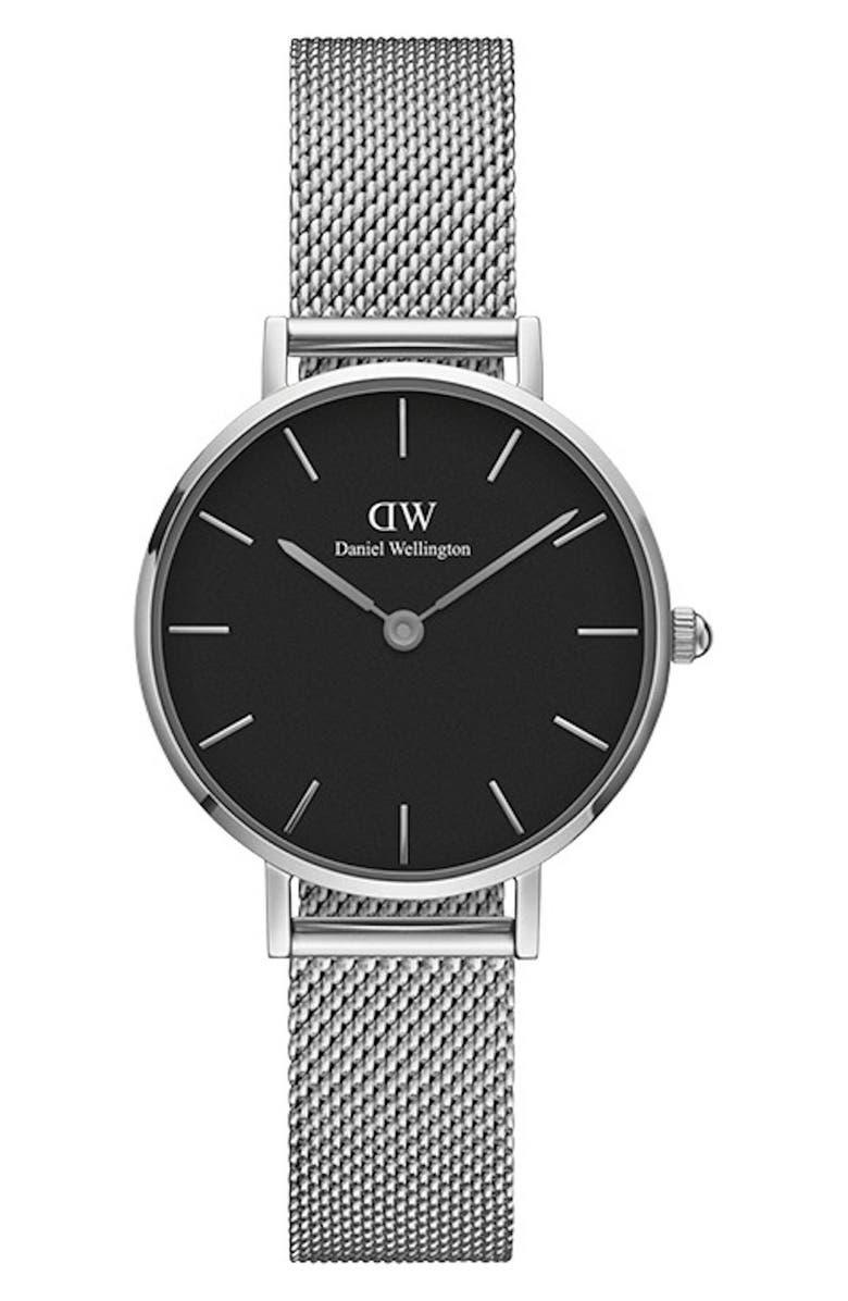 DANIEL WELLINGTON Classic Petite Mesh Strap Watch, 28mm, Main, color, SILVER/ BLACK / SILVER