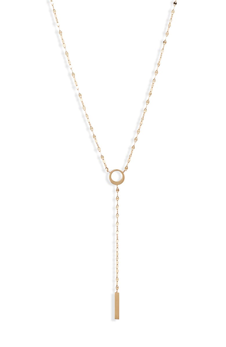 LANA JEWELRY Casino Bond Bar Pendant Y-Necklace, Main, color, YELLOW GOLD