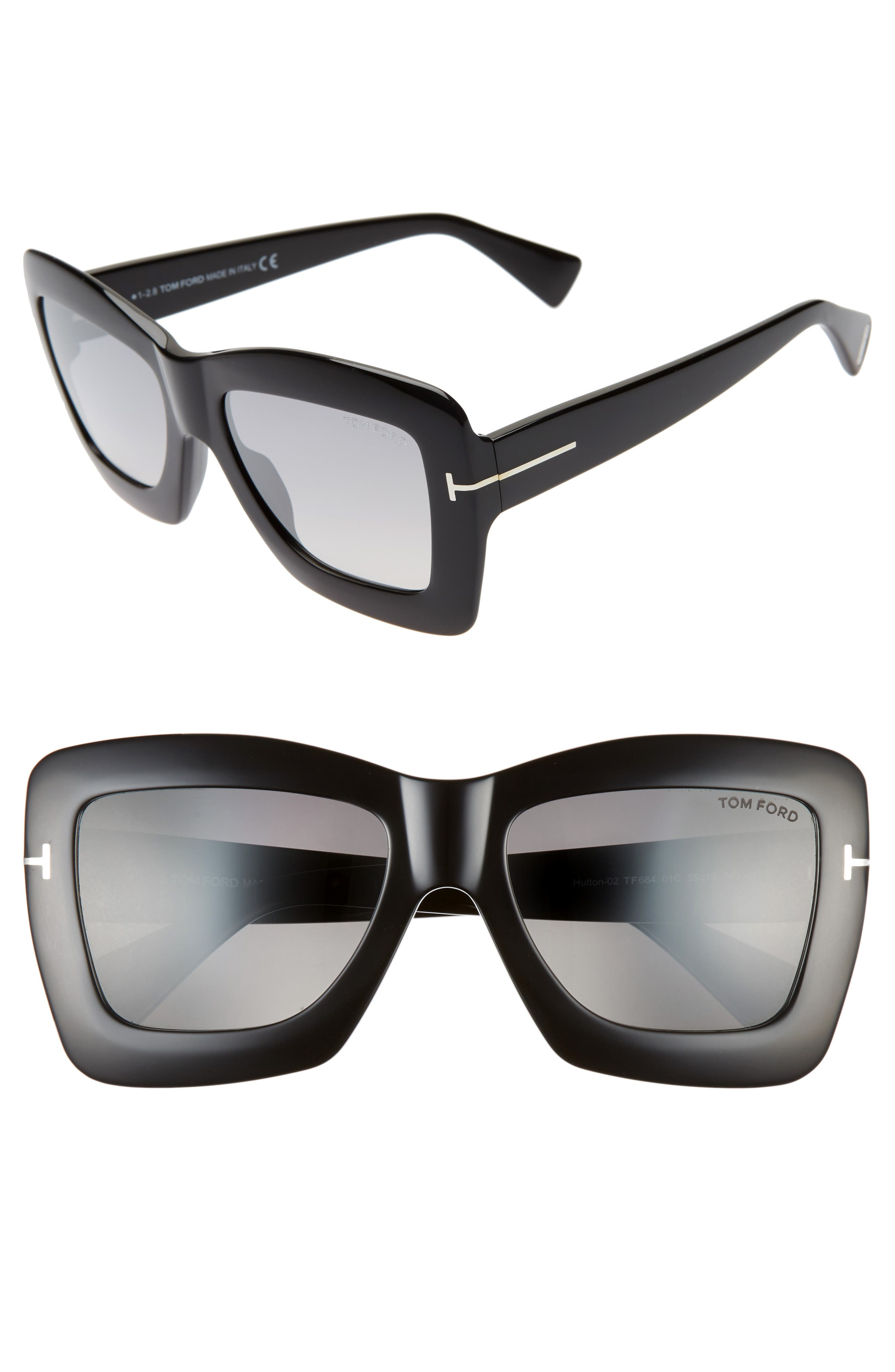 Hutton 55mm Rectangular Sunglasses, Main, color, BLACK/ SMOKE MIRROR
