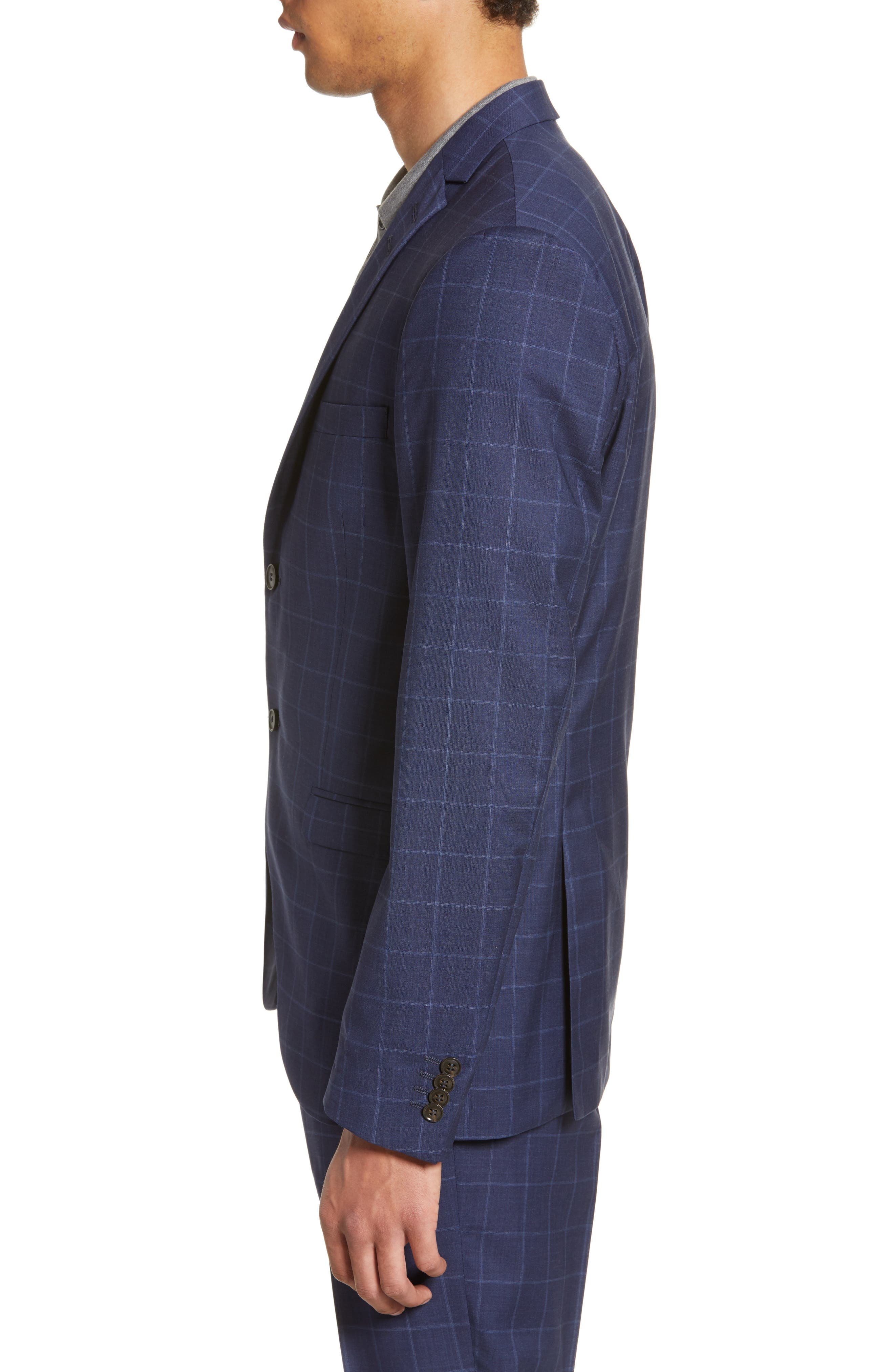 ,                             Jile Trim Fit Windowpane Wool Blazer,                             Alternate thumbnail 4, color,                             SOFT BLUE
