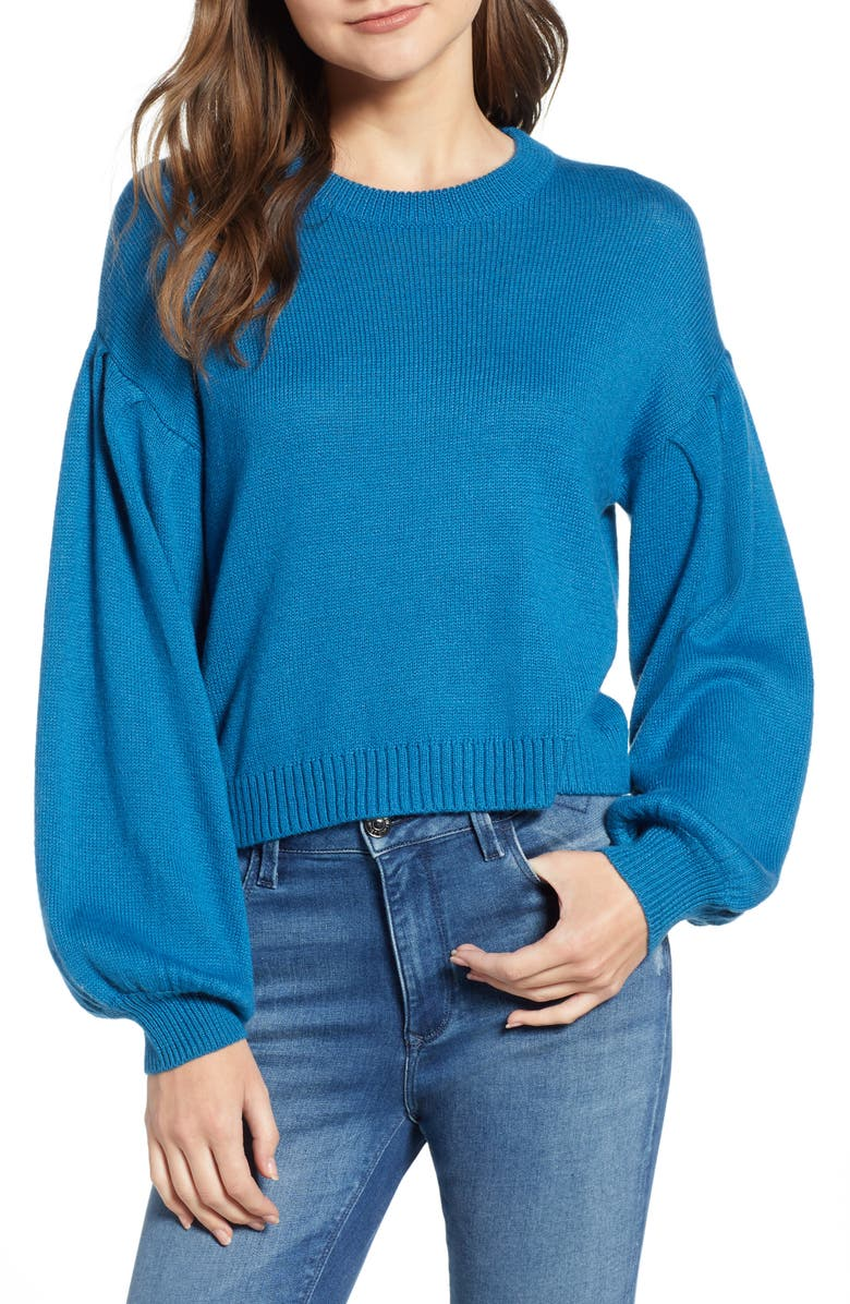 BP. Blouson Sleeve Sweater, Main, color, TEAL SAPPHIRE