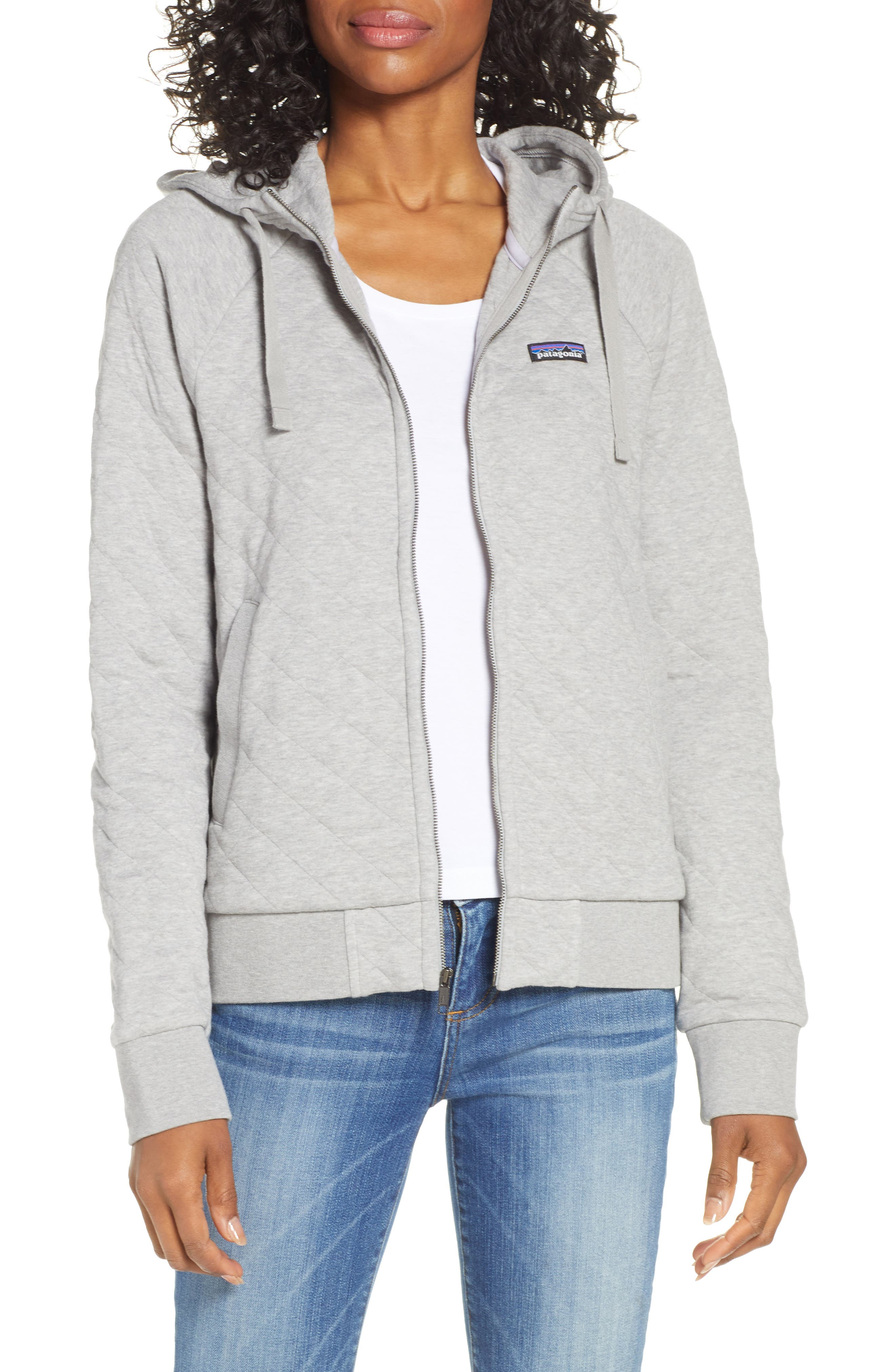 Organic Cotton Blend Quilted Hoodie, Main, color, DFTG DRIFTER GREY