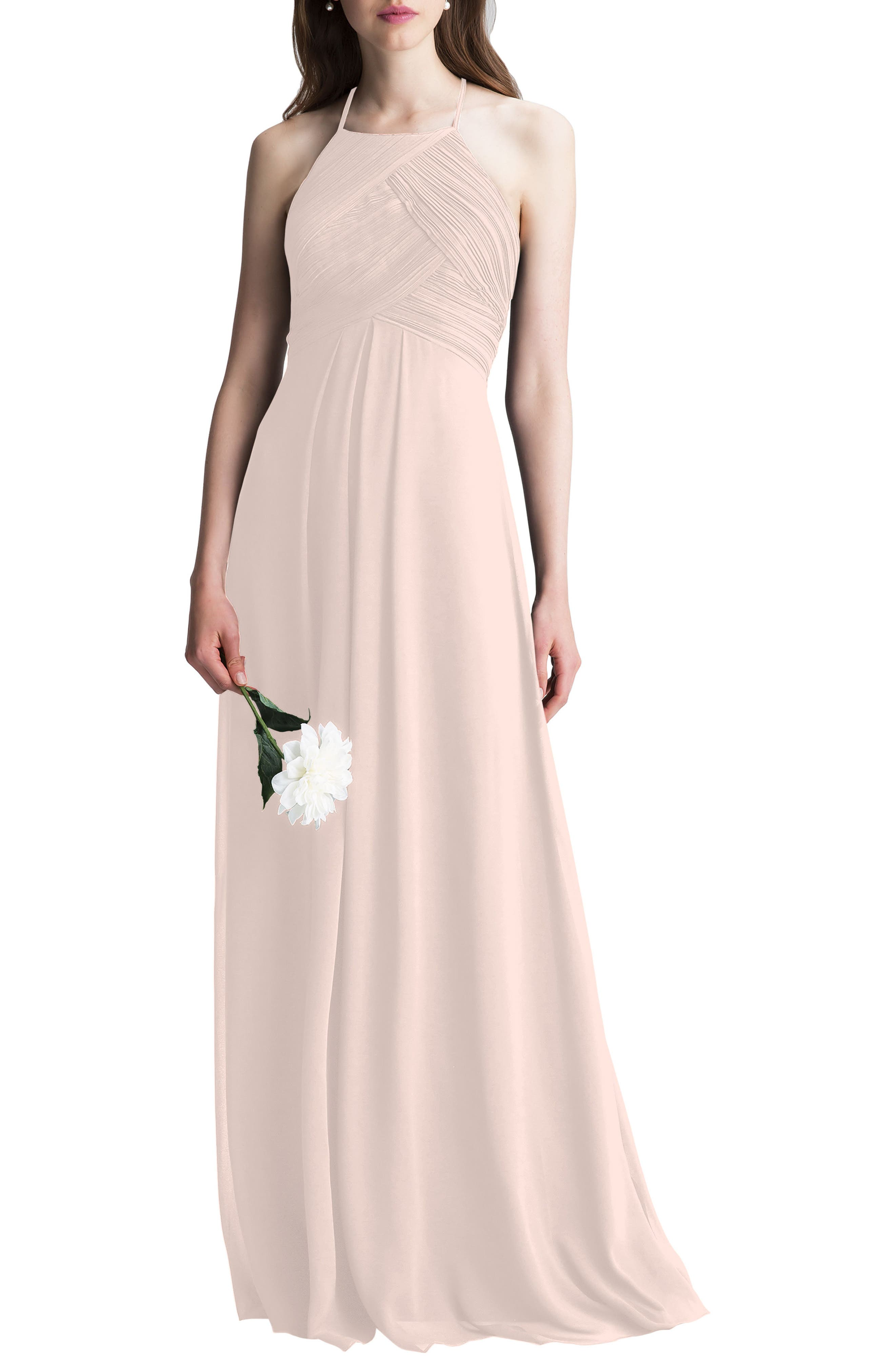 This dreamy chiffon gown is incredibly flattering from all angles thanks to its halter neckline, cutout back and floor-sweeping A-line skirt. Style Name:#levkoff Halter Chiffon A-Line Gown. Style Number: 5377387. Available in stores.