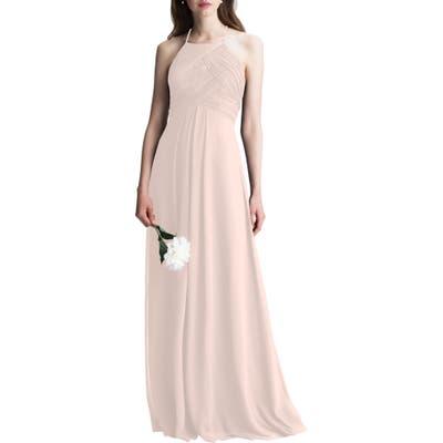 #levkoff Halter Chiffon A-Line Gown, Pink