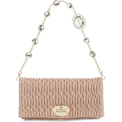 Miu Miu Matelasse Leather Shoulder Bag - Pink