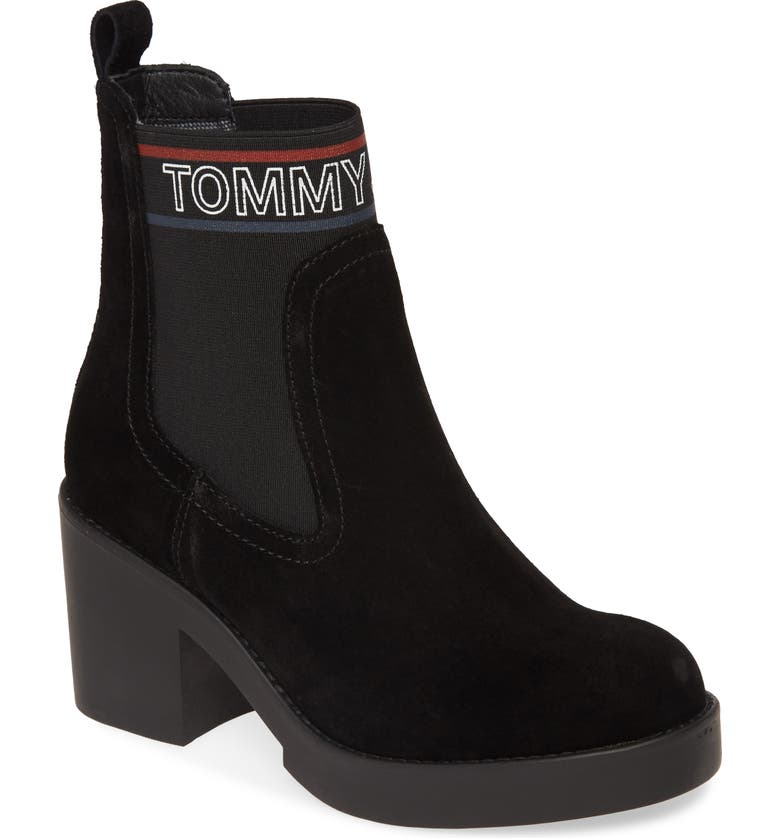 TOMMY JEANS Lynn Logo Platform Chelsea Boot, Main, color, BLACK