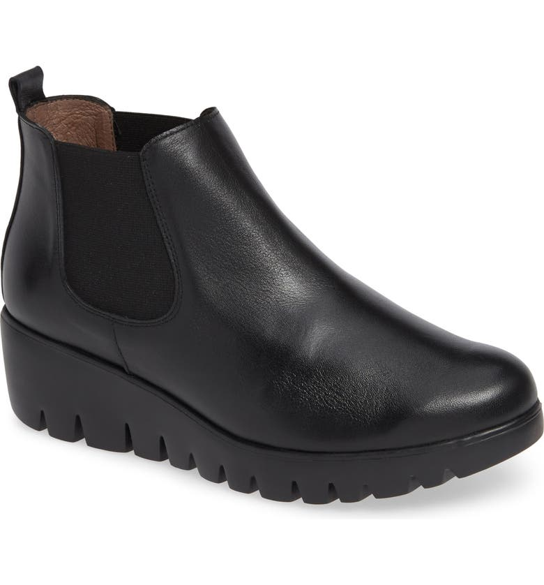 WONDERS Slip-On Chelsea Boot, Main, color, BLACK SMOOTH LEATHER