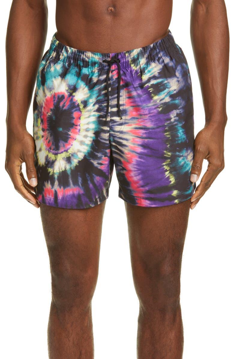 DRIES VAN NOTEN Tie Dye Swim Trunks, Main, color, 001