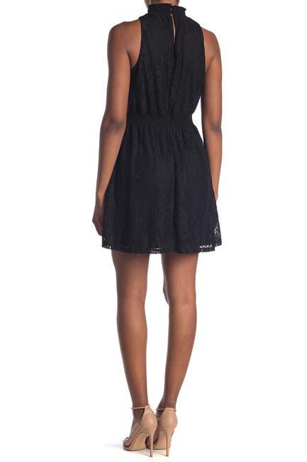 Image of 14TH PLACE Smocked Mock Neck Sleeveless Dress