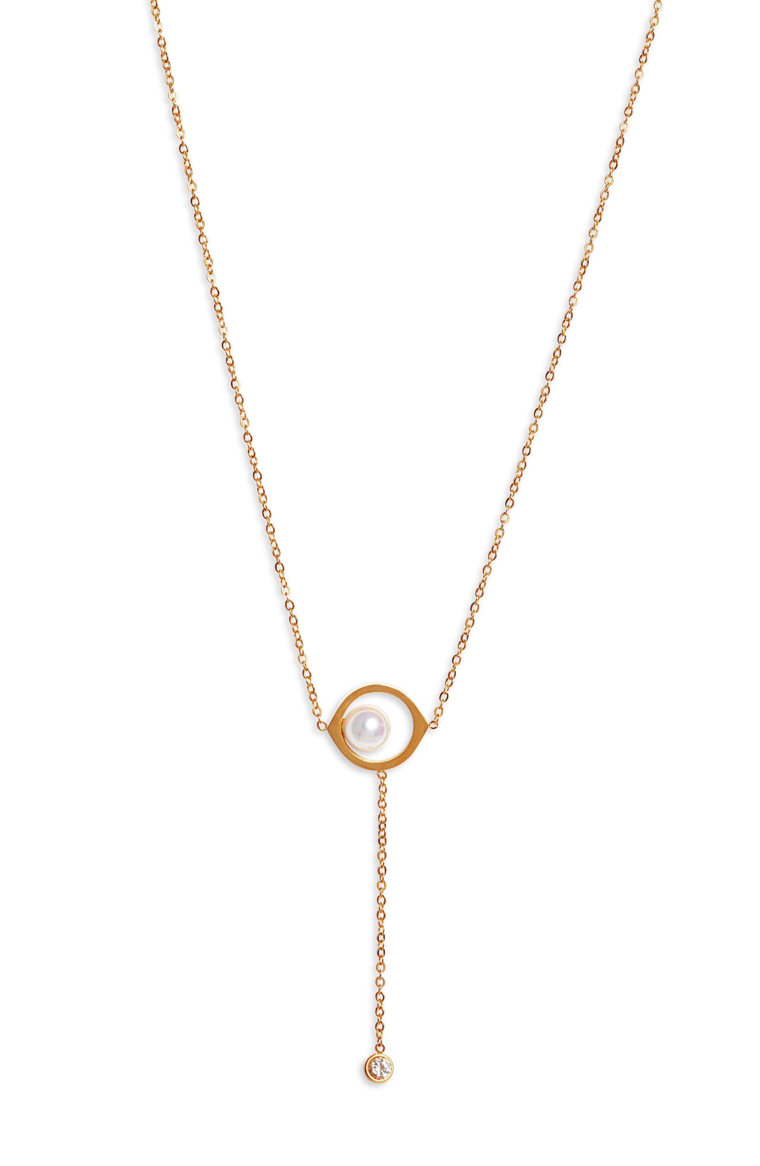 Imitation Pearl Y-Necklace