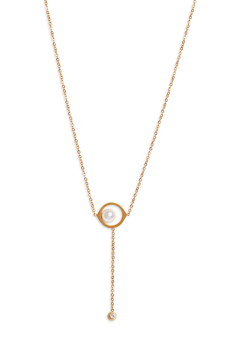 KNOTTY Imitation Pearl Y-Necklace, Main, color, GOLD