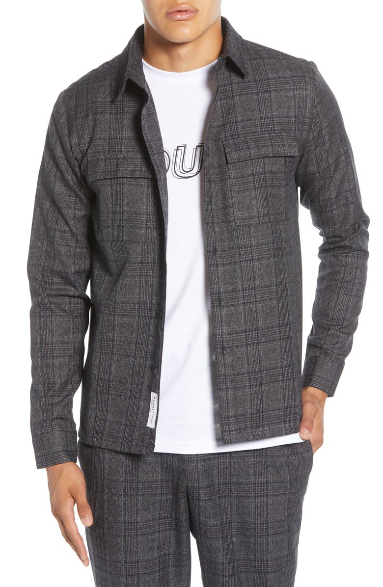 NATIVE YOUTH Umbra Plaid Button-Up Shirt, Main, color, GREY