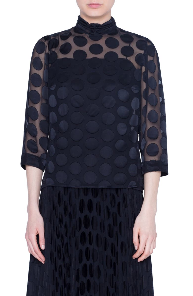 AKRIS PUNTO Polka Dot Devoré Blouse, Main, color, BLACK