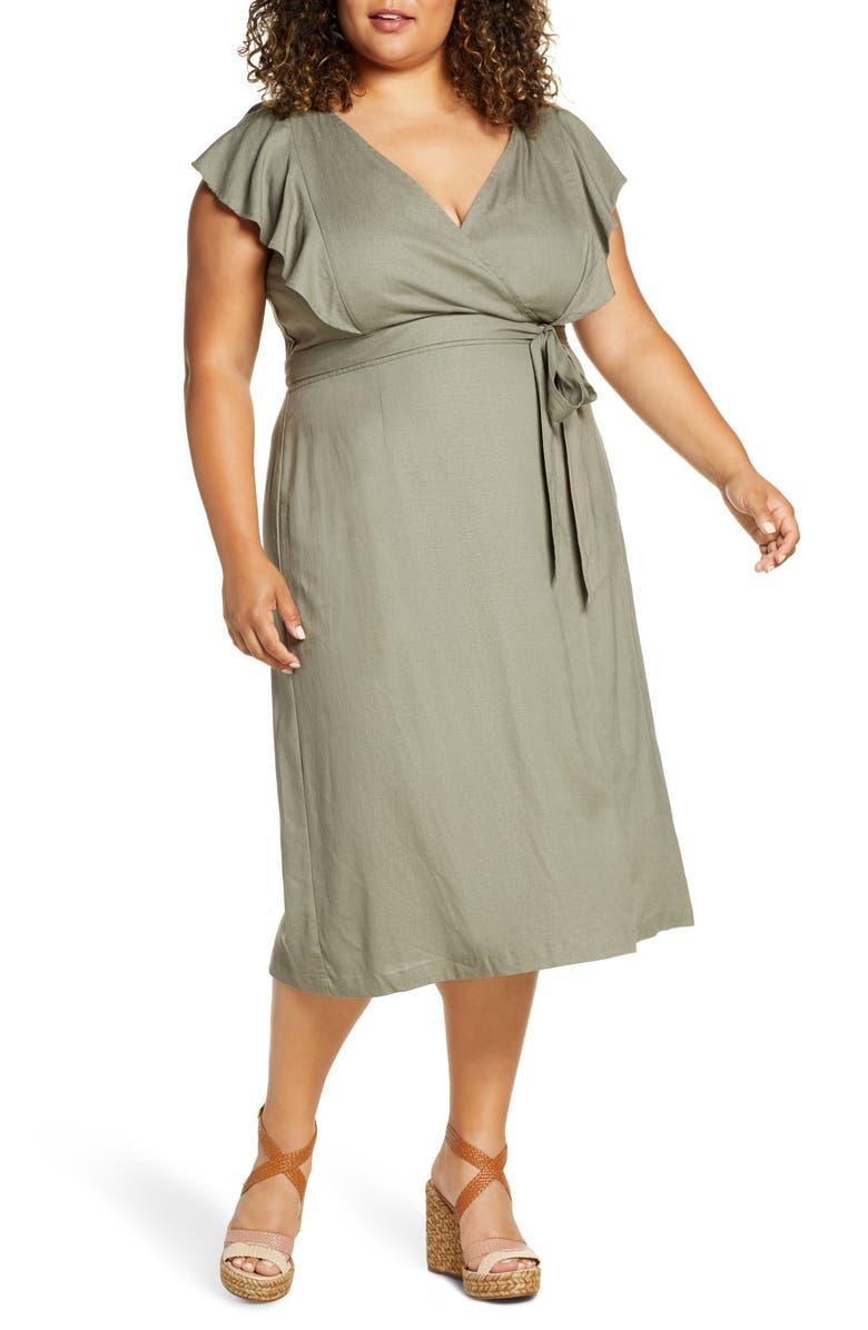 ELOQUII Flutter Sleeve Wrap Dress, Main, color, 300