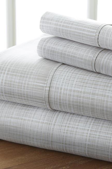 Image of IENJOY HOME Home Spun Premium Ultra Soft Thatch Pattern 4-Piece California King Bed Sheet Set - Gray