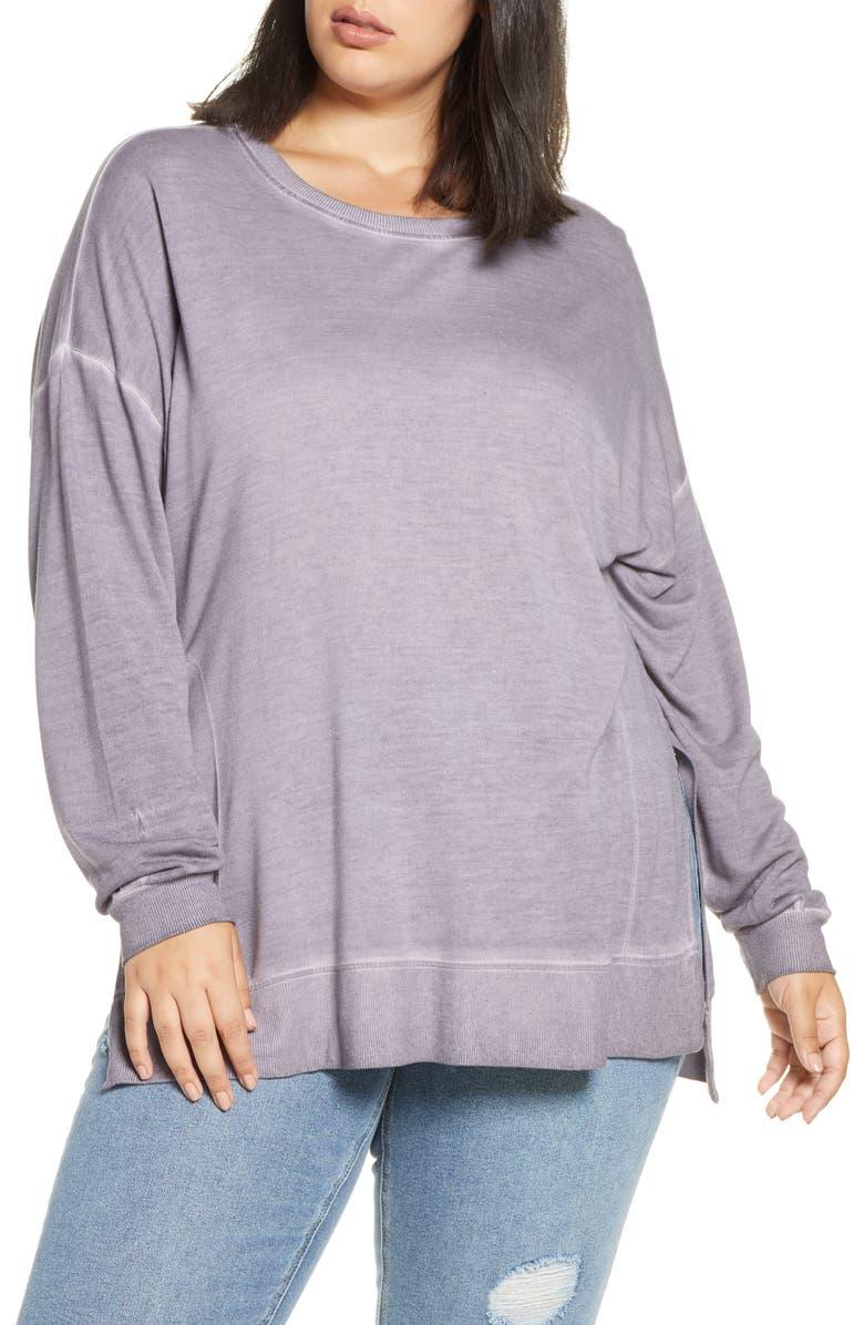 DANTELLE Oil Dye Pullover Sweatshirt, Main, color, CENDRE