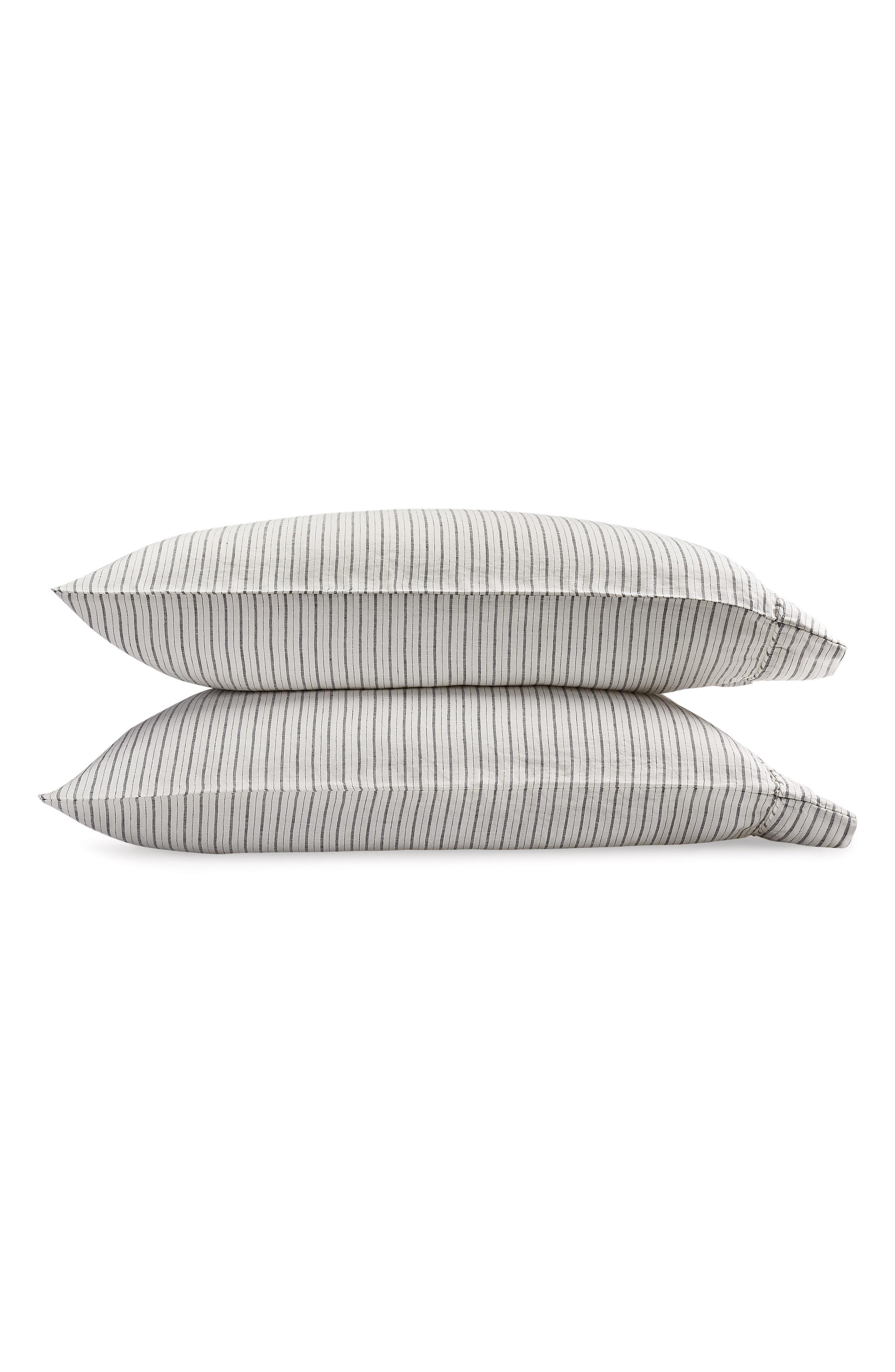 Tristen Set of 2 Linen Pillowcases, Main, color, WHITE/ ANTHRACITE